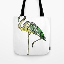 Yellow Flamingo Illustration Tote Bag