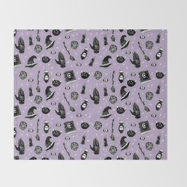 Witchy Magic on Purple Throw Blanket