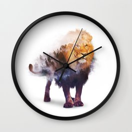 Lion Double exposure art Wall Clock