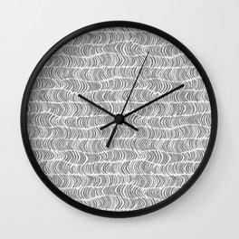 chevron waves on gray linen Wall Clock