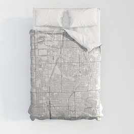 Fort Lauderdale White Map Comforters