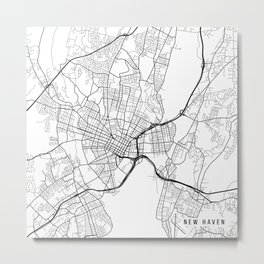 New Haven Map, USA - Black and White Metal Print