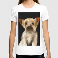 yorkie T-shirts featuring Yorkie on Black by barefoot art online