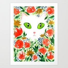 Cat Flor / Art Print / Jungle Cat Art Print