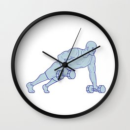 Fitness Athlete Push Up One Hand Dumbbell Drawing Wall Clock