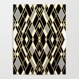 Art Deco Grey Gold Poster