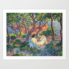Theo van Rysselberghe - In the Shade of the Pines (new color edit) Art Print