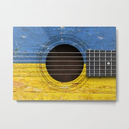 Old Vintage Acoustic Guitar with Ukrainian Flag Metal Print