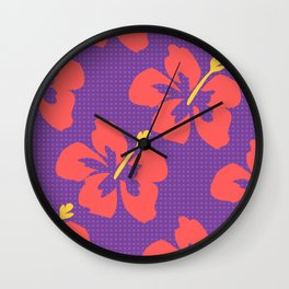Flowers illustrated (purple background) Wall Clock