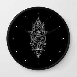 Beautiful Fatima Hand - The Hamsa, sharp, white graphic on black Wall Clock