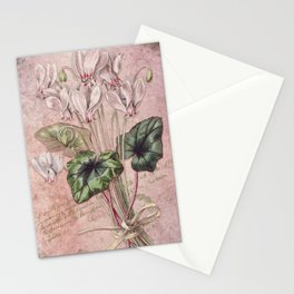 Pink Princess Bouquet - Pink Orchid & French Ephemera Collage Print Stationery Cards