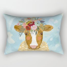 Cute cow with flowers on head, floral crown farm animal Rectangular Pillow