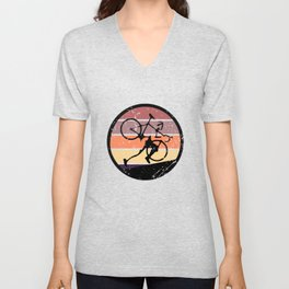 Retro Ultra Cycling - Great Cycling Gift - Retro Colors & Black Logo Design - Distressed Look Unisex V-Neck