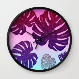 Monstera Rainbow Wall Clock