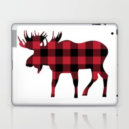 Moose Silhouette in Buffalo Plaid Laptop & iPad Skin