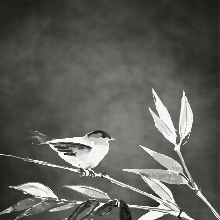 Little bird on bamboo branch. Comforters