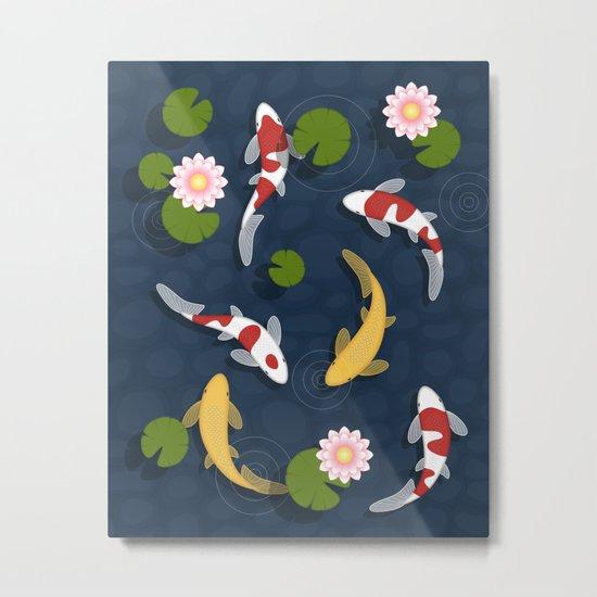 Japanese Koi Fish Pond Metal Print