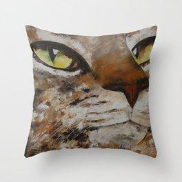 Gato con dolor de cabeza Throw Pillow