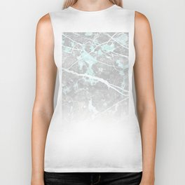 Pastel Teal & Grey Marble - Ombre Biker Tank