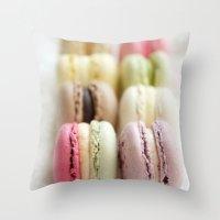macaron Throw Pillows featuring macaron by Susigrafie