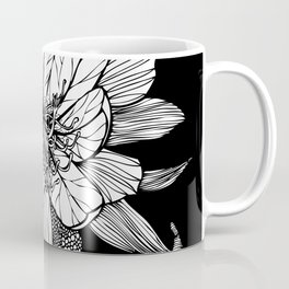 Orchid Cactus in Black and White Coffee Mug