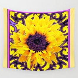 Yellow Sunflower  & Purple Pattern Art Wall Tapestry