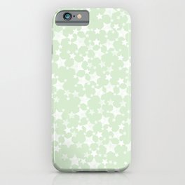 Magical Mint Green and White Stars Pattern iPhone Case