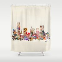 oklahoma Shower Curtains featuring oklahoma city oklahoma by bri.buckley