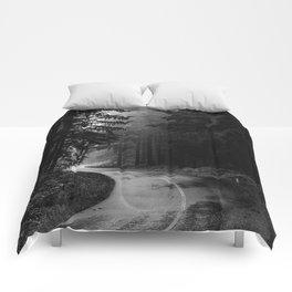 The Dark Path (Black and White) Comforters