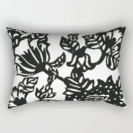 Botanical Tree of Life Block Print Rectangular Pillow