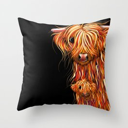 HiGHLaND CoW PRiNT SCoTTiSH ' THe CooS ' BY SHiRLeY MacARTHuR Throw Pillow
