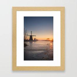 Windmills at Sunrise Framed Art Print