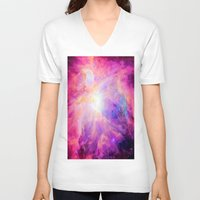 nebula V-neck T-shirts featuring Pink Purple Orion NebulA by 2sweet4words Designs