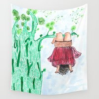 let it go Wall Tapestries featuring LET GO! by Pritika Mathur