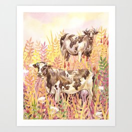 Two Cows in a Meadow Art Print