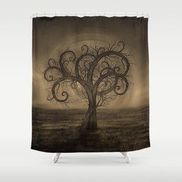 Golden Spiral Tree Sepia Shower Curtain