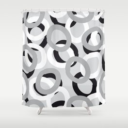 curly black, white, gray Shower Curtain