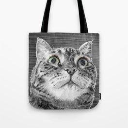 Big Eyed Cat B&W Tote Bag