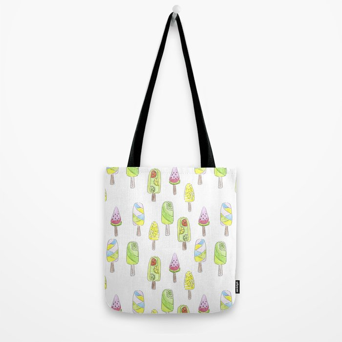 Watercolor seamless ice cream pattern Tote Bag