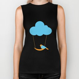 Cute bird and cloud Biker Tank