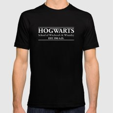 Hogwarts School of Witchcraft & Wizardry (Black) MEDIUM Black Mens Fitted Tee