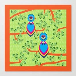 Tropical birds on trees Canvas Print
