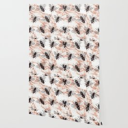 Bees on rose gold marble Wallpaper
