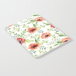 Red bouquet. Watercolor pattern Notebook