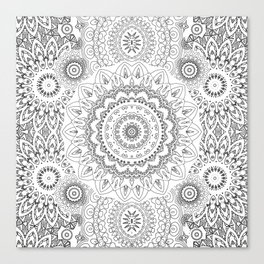 MOONCHILD MANDALA BLACK AND WHITE Canvas Print