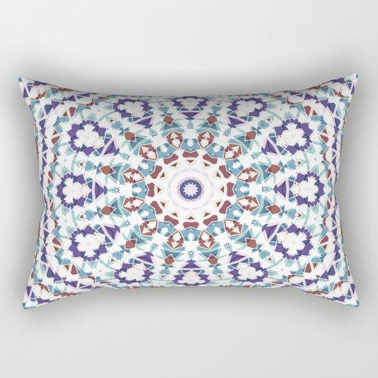 White, brown , blue kaleidoscope . Rectangular Pillow
