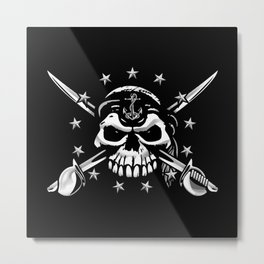 Old Salt Sailor Skull with 13 Stars, Anchor and Crossed Cutlasses Metal Print