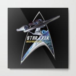 StarTrek Command Silver Signia Enterprise 1701 A Metal Print