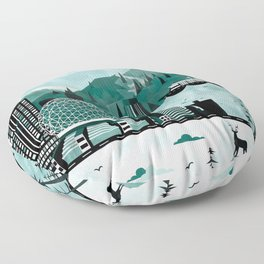 Vancouver Travel Poster Illustration Floor Pillow