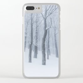 Snow covered frozen forest in winter Clear iPhone Case